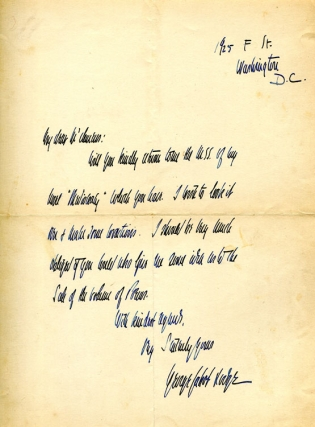 "Autograph letter signed (""George Cabot Lodge"") concerning the return of a manuscript and ""sale of..."