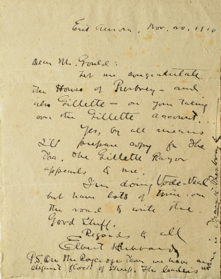 Autograph Letter, signed, to Mr Gould. Elbert Hubbard.