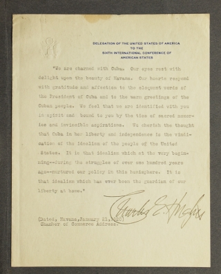 Typed Manuscript , Signed. A part of Chamber of Commerce Address on Cuba. Cuba, Charles Evans Hughes