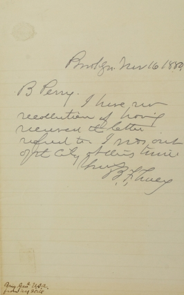Autograph Letter, signed, to B. Perry. He doesn't remember receiving a letter. Benjamin Franklin...