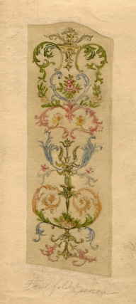 Watercolor drawings of leather screens made for George D. Thompson & Co. of 464 Fourth Avenue, New York