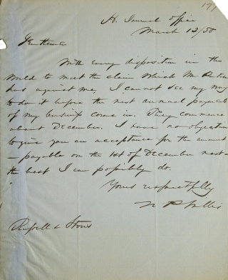 Autograph Letter, signed. To Russell & Storrs