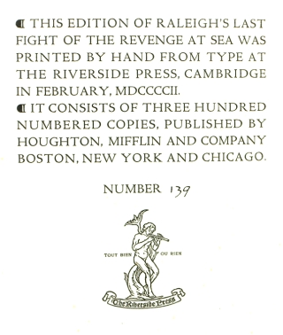 A Report of the truth concerning the last sea-fight of the Revenge