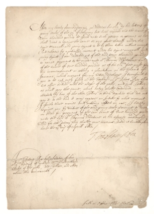 Document Signed. 1662 privy seal warrant issued to future Jamaican privateer and Speaker of the...