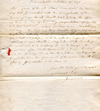 "Autograph letter signed, (""Joseph Otis"") to Jonathan Jackson (""Sir"") regarding his position as..."