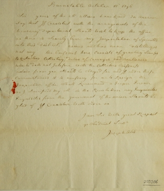 "Autograph letter signed, (""Joseph Otis"") to Jonathan Jackson (""Sir"") regarding his position as Collector of Customs"