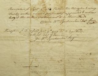 Partially printed document of Land deed in West Springfield in the Parish of Agawan, [Masachusetts]