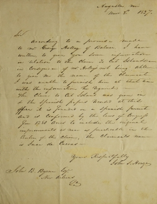 Autograph Letter, signed, to John B. Byrne, Esq. New Orleans. About Cat Island, a barrier Island off the Gulf Coast of Mississippi