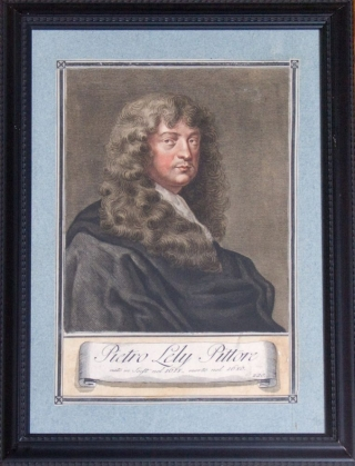 Pietro Lely Pittore: self portrait, engraved by Lasinio after the original painting in the Uffizi. Carlo Lasinio, engraver.