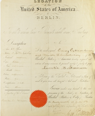 Printed document: Legation of the United States at Berlin pass for Lucretia B. Farnum. Signed by George Bancroft. George Bancroft.