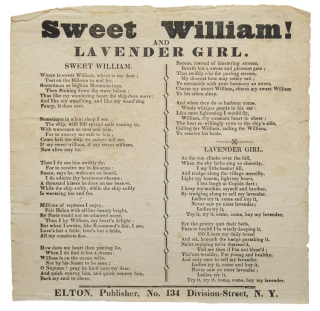 Broadside: Sweet William! and Lavender Girl