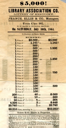 "Broadside: ""$5,000! Library Association Co. Lottery of Kentucky. France, Ellis & Co., Managers...."