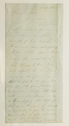 Autograph Letter, Signed. To Brig-General Henry Martyn Cist (1839-1902). Lucretia Garfield