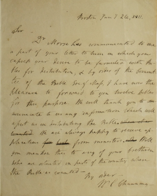 "Autograph Letter, signed (""W.E Channing"") to ""Mr. Greely"" of Turner, Maine regarding his..."