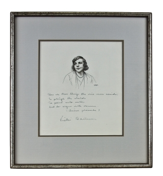 Original pen and ink portrait of Vicki Baum. Inscribed with 4-line Chinese proverb. Vicki Baum,...