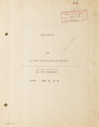 """Document, signed (""""Owen Wister""""), being an agreement between Paramount and Wister"""
