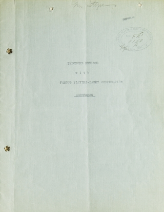 "Document Signed (""Theodore Dreiser"") three times, agreement with Famous Players-Lasky..."