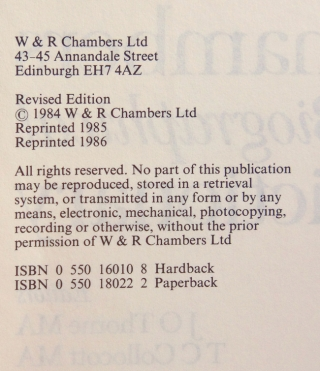 Chambers Biographical Dictionary. Revised Edition