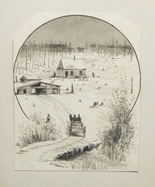 "Group of 11 original illustrations of Michigan hunting scenes, for his ""Deer Hunting on the..."