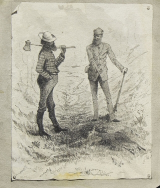 "Group of 11 original illustrations of Michigan hunting scenes, for his ""Deer Hunting on the Au Sable"", published in Scribner's Monthly"