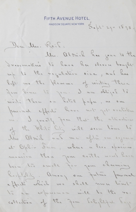 Autograph Letter, Signed. To Mr. (Whitelaw) Reid. Thanking him for four days at Ophir Farm....