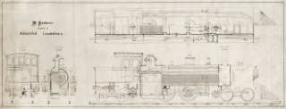 """W. Freeborn's system of Articulated Locomotives"": detailed engineering drawing, pen and ink on thin prepared translucent cloth, signed ""J.H. Müller Eng. 25 Chambers Str. del"". Railroads."