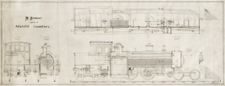 """""""W. Freeborn's system of Articulated Locomotives"""": detailed engineering drawing, pen and ink on thin prepared translucent cloth, signed """"J.H. Müller Eng. 25 Chambers Str. del"""""""