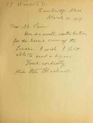 AUTOGRAPH LETTER, SIGNED, FROM ALICE STONE BLACKWELL, CONTRIBUTING MONEY TO THE CREW OF THE SHIP...