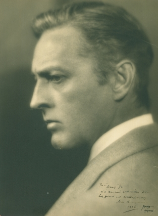 Portrait photograph of John Barrymore, inscribed by Barrymore to Douglas Fairbanks, Jr. John Barrymore, photographer, Melbourne Spurr.