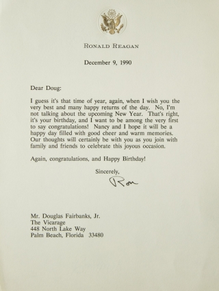 "Typed Letter Signed (""Ron""), to Douglas Fairbanks, Jr., congratulating him on his 81st birthday...."