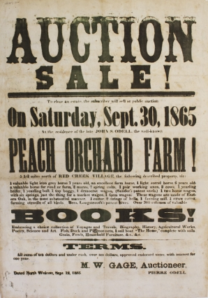 Broadside: Auction Sale! To Close The Subscriber will sell at public auction on Saturday Sept....
