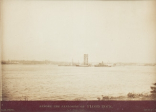 Three vintage photographs documenting the detonation of Flood Rock in the East River, October 10,...
