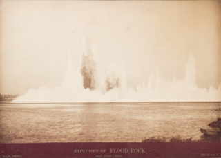 Three vintage photographs documenting the detonation of Flood Rock in the East River, October 10, 1885