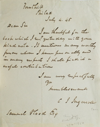 ALS. To Samuel Hood thanking him for abook. Charles Jared Ingersoll
