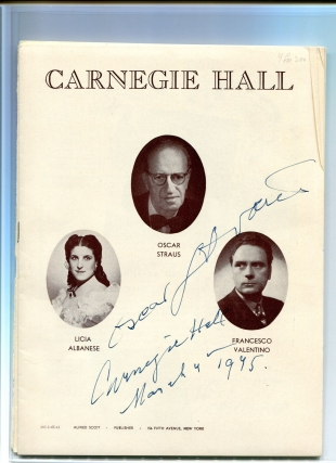 Signed Program for Carnegie Hall for Sunday Evening, March 4. 1945. Straus Festival With Licia...