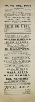 Broadside program from Ward's Opera House (formerly Odeon)