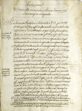 Collection of 6 manuscripts relating to the anti-Spanish riots in Rome in March, 1736. Naples and the Two Sicilies.