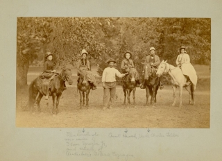 Four photographs of Isaac Sprague family members at Yosemite Valley, California
