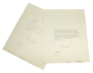 "Leopold Stokowski. Typed letter, signed (""Prince"", Bok's nickname for him), invitation to the..."