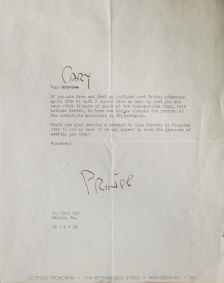 "Leopold Stokowski. Typed letter, signed (""Prince"", Bok's nickname for him), talking about ""yens""..."