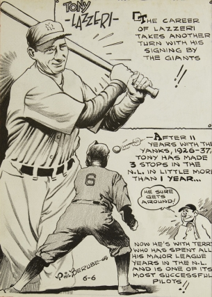 Pen and ink Newspaper illustration of Tony Lazzeri (1903-1946). Tony Lazzeri, Phil Berube