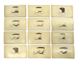 12 carte de visites of a carriage line of H.C. & H.W. Stevens Co. of Merrimac, Mass