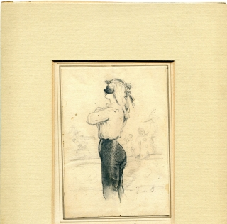 Pencil drawing of man in profile in mask, 3/4 length. Édouard de Beaumont.