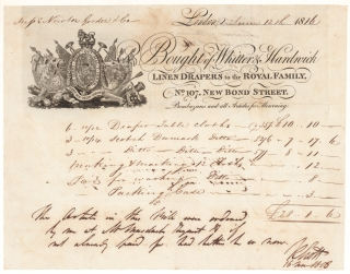 Billhead of Whittier & Hardwick Linen Drapers to the Royal Family. No. 107 New Bond Street. Tio Messr. Newton Gordon & Co. £28...1...6