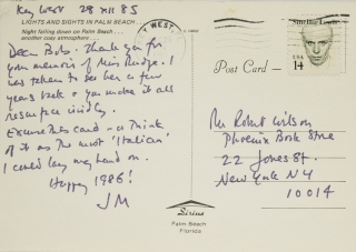 Group of 12 autograph postcards and notes and one typewritten note, all signed, to Robert Wilson,...