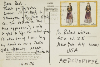 Group of 12 autograph postcards and notes and one typewritten note, all signed, to Robert Wilson, proprietor of the Phoenix Book Shop in New York City