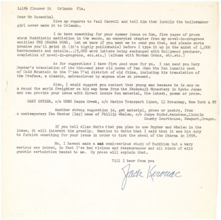 "Typed Letter, signed (""Jack Kerouac""), to Irving Rosenthal of the Chicago Review. Jack Kerouac"
