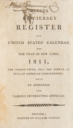 Alden's New-Jersey Register and United States' Calendar, for . 1811