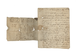 "Autograph Letter, Signed, ""Peter Freneau,"" to John Covenhoven of Freehold, New Jersey, written during the Revolutionary War period. South Carolina Charleston, Peter Freneau."