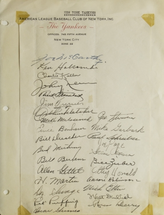 Signatures on The Yankees letterhead of Joe McCarthy & 27 other Yankees. New York Yankees